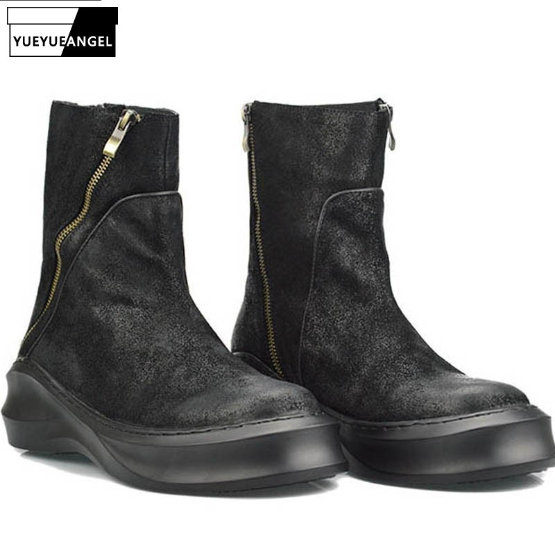 2020 New Fashion Mens Zipper Winter Genuine Cow Leather Boots Round Toe England Style High Top Boots Male Thick Bottom Plus Size
