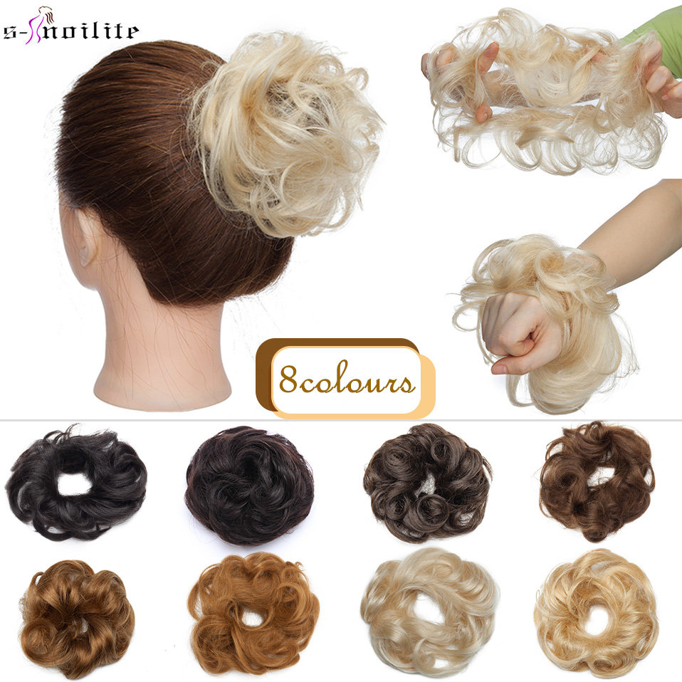 Donut-Chignon-Ring Human-Hair Non-Remy-Extension Hairpiece S-Noilite for Women Natural-Color