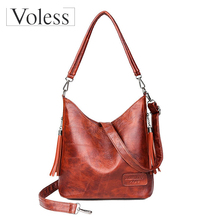 купить Bags for Women 2019 Retro Female Shoulder Messenger Bags Ladies Soft PU Leather Crossbody Bag Tassel Bucket Bag Bolsa Feminina по цене 1104.63 рублей