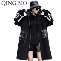 QING MO Black Women Hooded Coat 2019 Women Letter Printed Windbreaker Coat Streetwear Loose Coat Wool Trench Coat ZQY2272