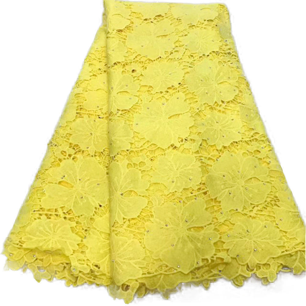 High End Guipure Lace Fabrics For Dress Water Soluble Swiss Voile Lace African Nigerian Cotton Lace Fabrics With Rhinestone