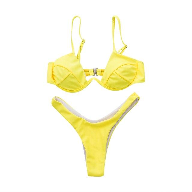 Sexy Push Up Unpadded Brazilian Bikini Set Women 4 Colors Bandage Bikini Set Swimsuit Triangle Swimwear Bathing 11