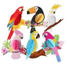 Do zawieszenia z papieru strona dekoracji 6 sztuk żywe papugi o strukturze plastra miodu na hawajskie, plaża, basen, Luau tropikalne lato dla dzieci artykuły urodzinowe