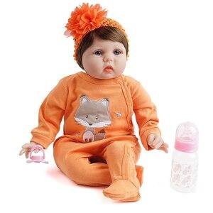55cm reborn bebê boneca menina silicone vinil recém-nascido laranja roupa