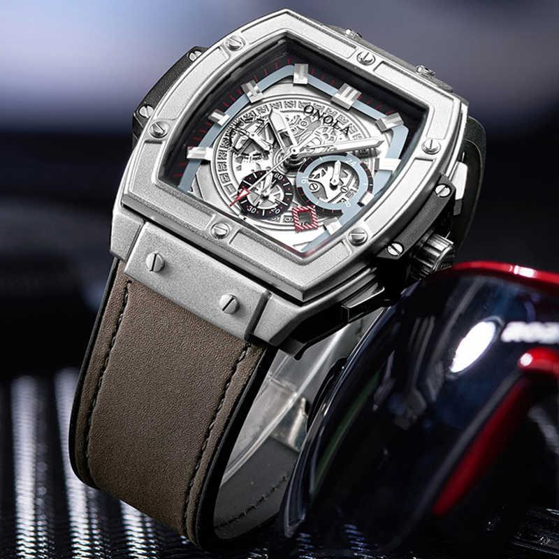 Zegarek mechaniczny ONOLA dla mężczyzny top luksusowa marka lumious tonneau kwadratowa duża tarcza wrist watch fashion casual męski automatyczny zegarek