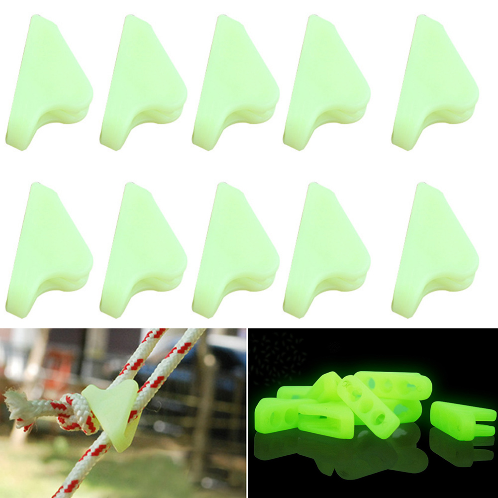 10pcs Practical Safety Mlutifunctional Adjustable Reminder Tent Buckle Plastic Anti-Tip Luminous Rope Camping Outdoor Triangle