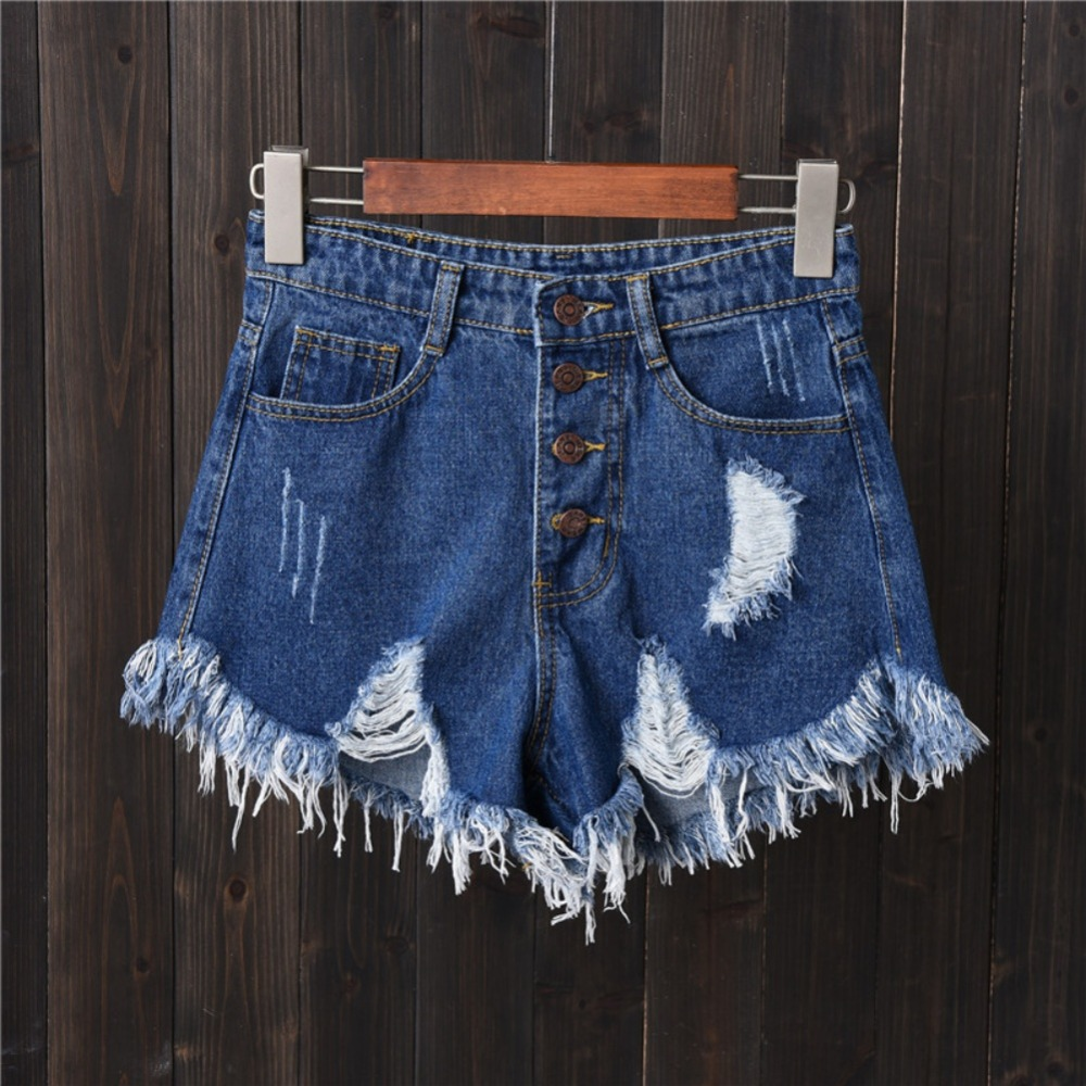 Girl 2019 Summer  Women Hole Hot Denim  Solid Color High Waist Slim Casual Wide Leg  Shorts