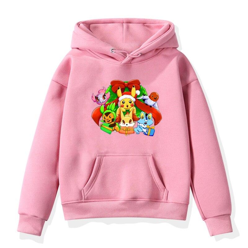 Family Pokemon Pikachu Print Clothing Toddler Puls Sweatshirts Kawaii Kids Hoodies Boys Girls Winter Warm Tops Harajuku Coats