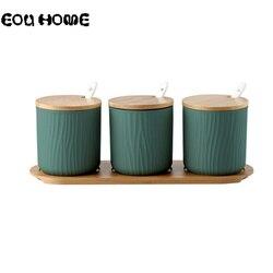 Kreatywne ceramiczne butelki o przechowywania słoik na przyprawy z okładka bambusowa sól cukier papryka MSG pudełko do przypraw przyprawa narzędzie akcesoria kuchenne