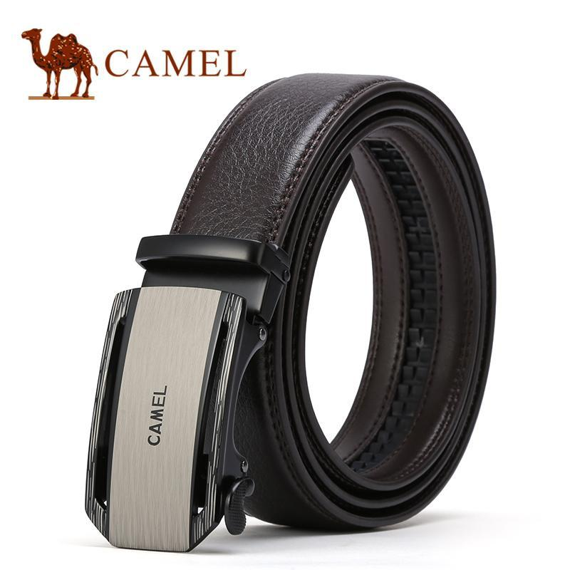 Camel Leather Belts Men Automatic Buckle Belt 100% Genuine Cow Leather Business Casual Strap Belt Formal Business Cowhide