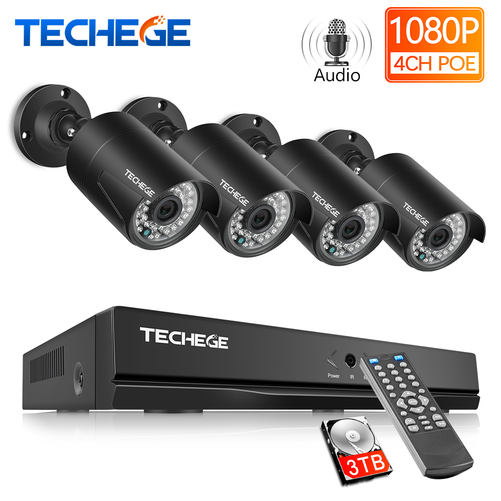 Techege H.265 4CH 1080P HDMI POE NVR Kit CCTV Security System 2.0MP IR Outdoor Audio Record IP Camera P2P Video Surveillance Set