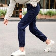 נשים מכנסיים סתיו חורף קורדרוי מכנסיים גבוה מותן מכנסיים בתוספת גודל הרמון מכנסיים אופנה סרבל קרן מכנסיים pantalones mujer
