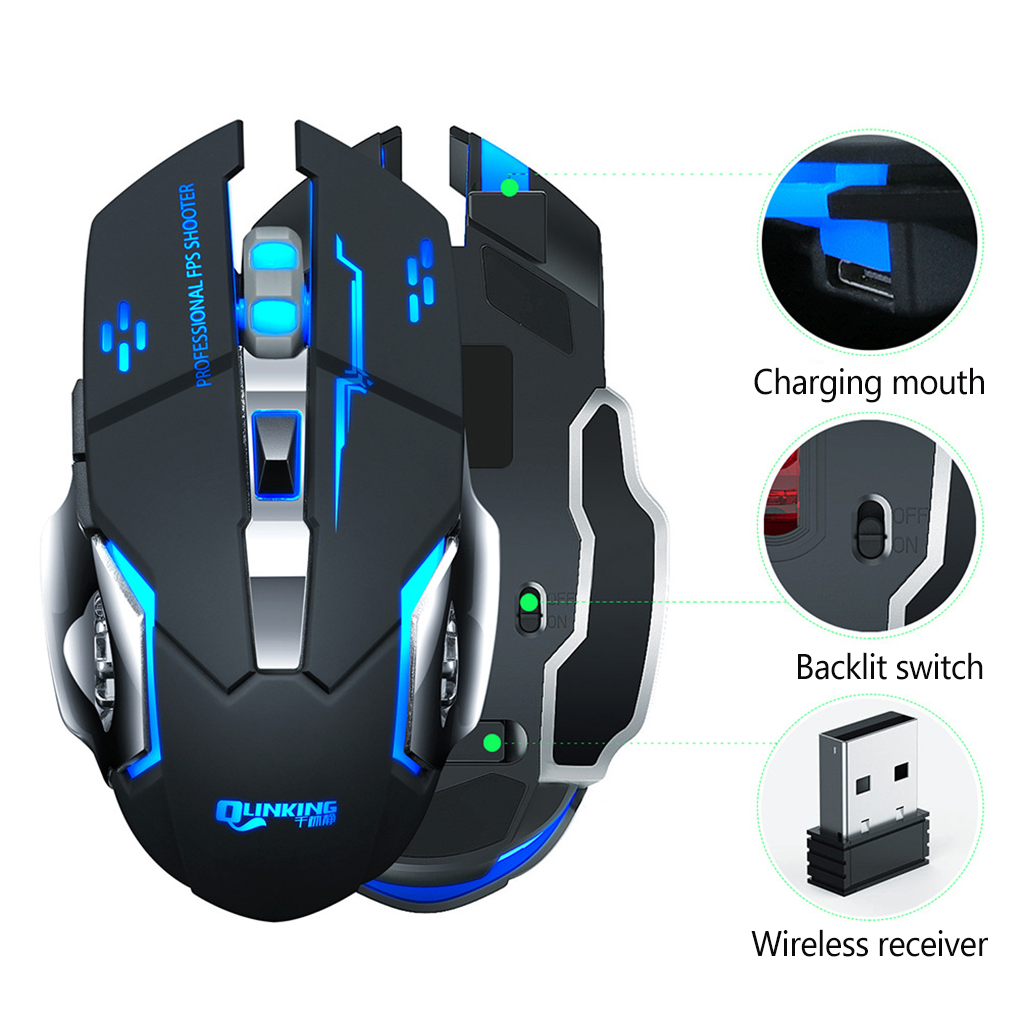 Wireless Mouse 7 Color Breathing Light Rechargeable Desktop Computer Laptop 2.4G 6 Buttons Gaming Mouse