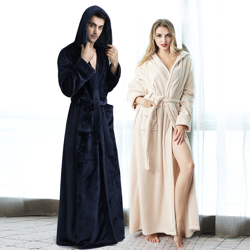 Winter Hooded Couple Nightgown Thickening Long Section Ladies Bathrobe Coral Fleece Men's Hooded Home Service Flannel Robe