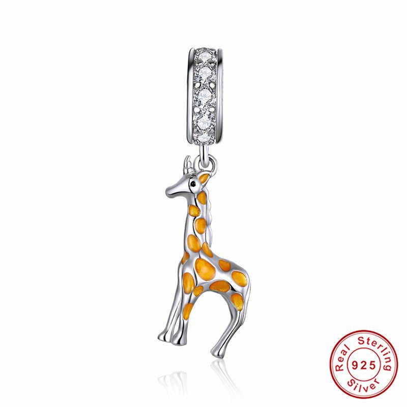 Fit avrupa bilezik orijinal 925 ayar gümüş sevimli fil köpek ayı kedi takılar S925 Beetle Zebra boncuk takı yapımı için