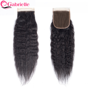 Gabrielle Kinky Straight Lace Closure Pre-Plucked Brazilian Human Hair Free Part Swiss Lace Natural Color Remy Hair