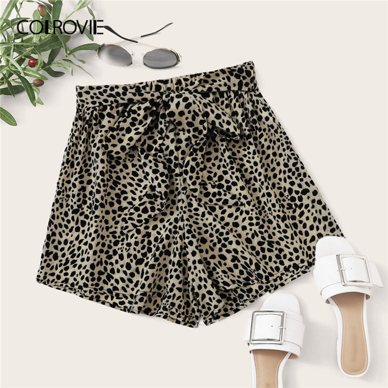 COLROVIE Multicolor Leopard Allover Print Self Tie Shorts Women 2020 Summer Wide Leg High Waist Boho Belted Shorts