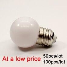 100pcs/lot E27 LED Light Bulb 2W G45 PC Lamp 220V warm white Home Bedroom living room decoration bulb