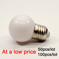100pcs/lot E27 LED Light Bulb 2W G45 PC Lamp 220V warm white Home Bedroom living room decoration bulb