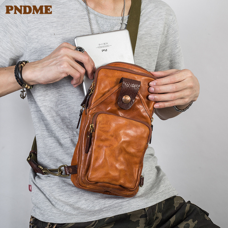 PNDME Vintage Trend High Quality Genuine Leather Men's Chest Bag Fashion Casual Cowhide Designer Luxury Shoulder Messenger Bags