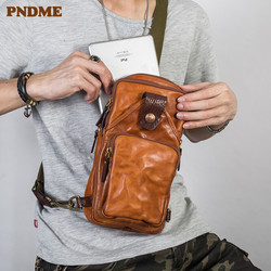 PNDME vintage trend high quality genuine leather men's chest bag fashion casual cowhide designer luxury shoulder messenger bags