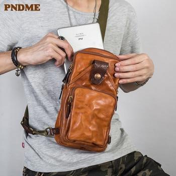 PNDME vintage trend high quality genuine leather mens chest bag fashion casual cowhide designer luxury shoulder messenger bags