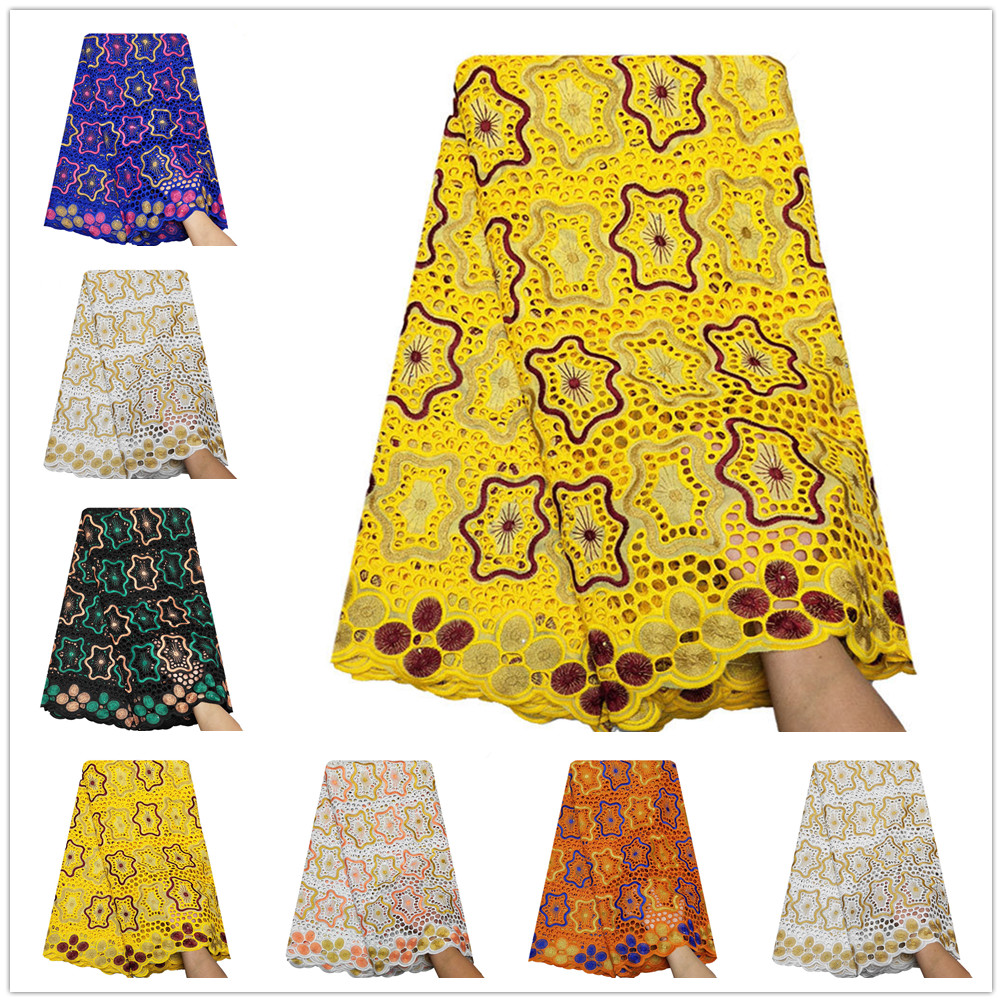 Pure Cotton Lace Fabric Home Furnishing Women Dress Apparel Sewing Material Wedding Party Dress Ghana Swiss Lace Sale By Yard