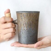 Coffee Mug Beer-Mug Wood-Handle Vintage Ceramic Japanese-Style Tumbler Water-Cup Milk