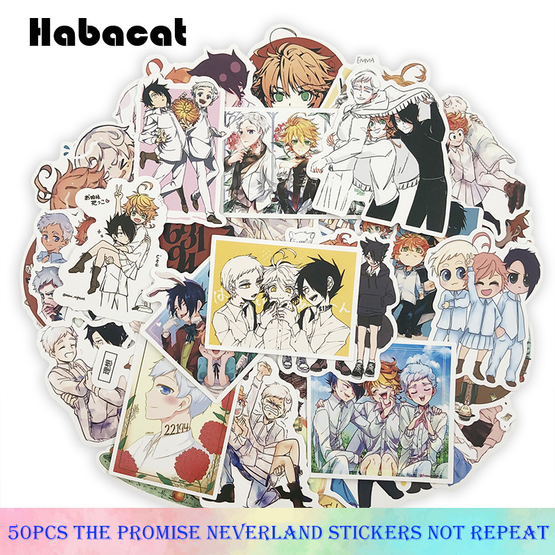 50Pcs/Pack The Promised Neverland Graffiti Stickers Japanese Anime For Motorcycle Luggage Laptop Bicycle Skateboard Pegatinas