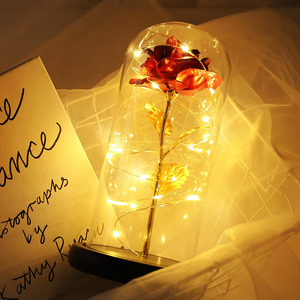 Artificial Eternal Rose LED Light Rose Flashing Flowers And The Red Rose In A Glass Dome For Mother Valentines Day New Year Gift