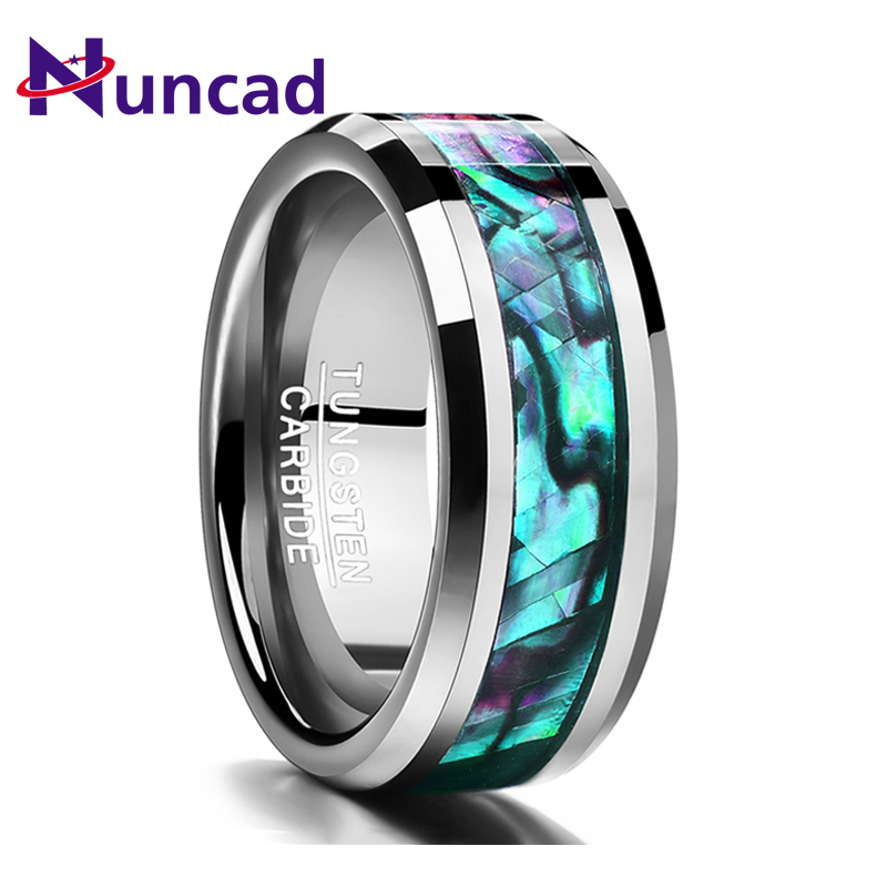 Nuncad 2018 trend 8MM inlaid abalone shell beveled tungsten carbide ring Jewelry For Wedding party finger rings dropshipping|Rings| |  - title=