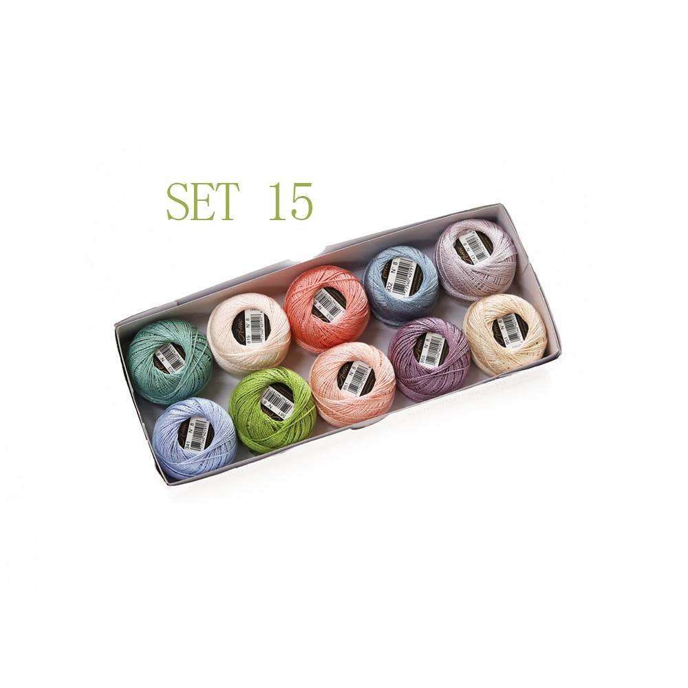 5 граммов размер, 8 жемчужных хлопковых нитей для вышивки крестиком, 43 ярдов на шарик, Двойной Мерсеризованный длинный штапельный хлопок, 10 шт./col - Цвет: SET 15