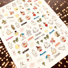 HANYI-100 Newest design egg cartoon girl colorful film designs 3d nail art sticker nail decal accessories(China)