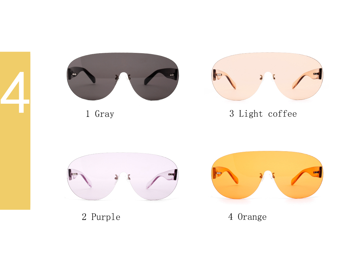 HOT sale big oversized frame Candy color One Piece Rimless Sunglasses