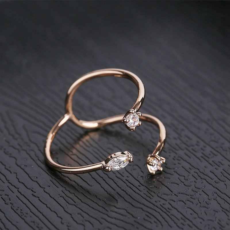 MIGGA conception Unique géométrique femmes bague en or Rose couleur ouverture cubique Zircon anneau bijoux de fête