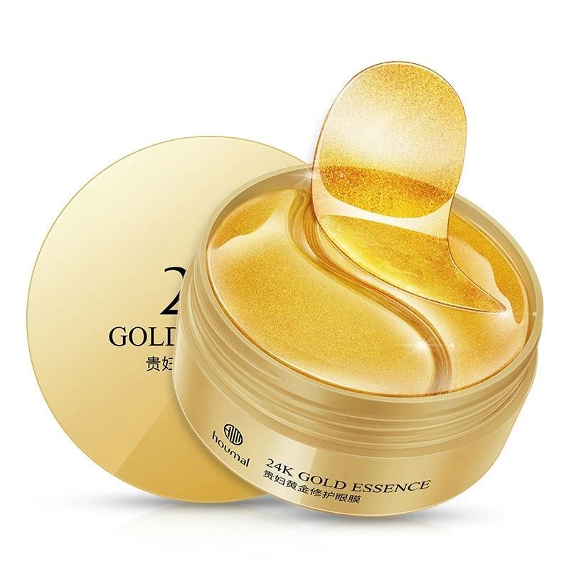 24K Gold Collagen Eye Mask Anti Wrinkle Sleep Crystal Eye Patch Moisturizing Dark Circles Remover Eye Mask Eye Care Cream 60Pcs