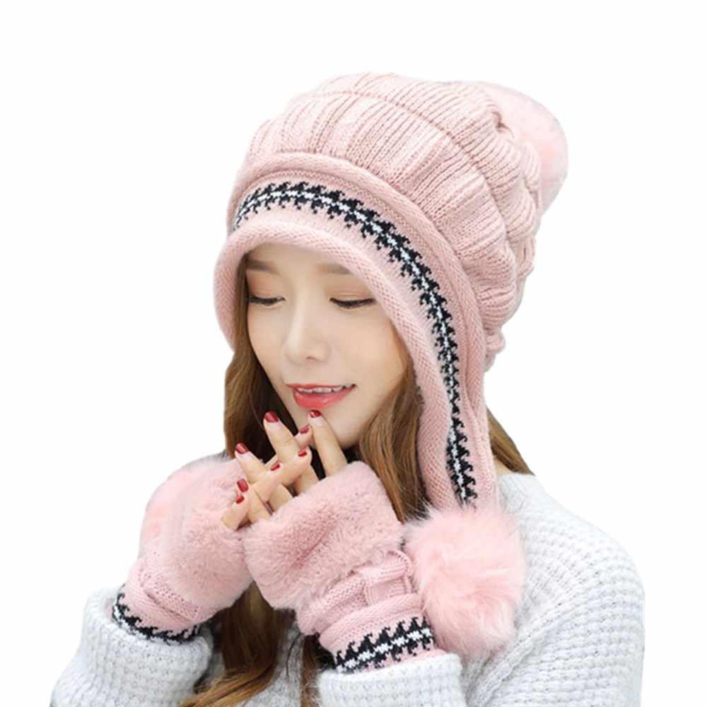 Ymsaid Meisje Dikker Ski Cap Nieuwe Merk Bont Pompons Winter Zoete Gebreide Hoeden Vrouwen Hoed Vrouwelijke Warme Handschoenen + knit hoed