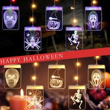 Halloween Light String 5V USB Powered LED Light String with 3D Jack Pumpkin Light Widow Widow Halloween Decoration Home Decoration LED Light Cabinet Wardrobe Decoration Night Light LED Wall Cabinet Light Christmas Ligh