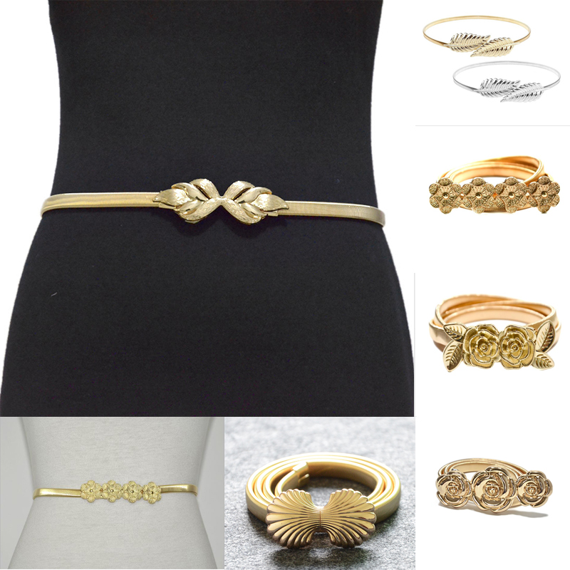 Luxury Desinger 2020 New Ladies 1cm Wide Metal Spring Iron Metal Shell Double Lotus Buckle Elastic Waist Chain Bg-1121