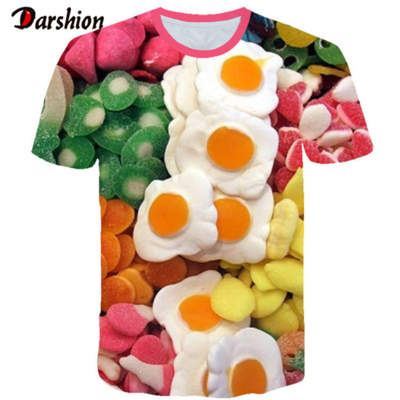3d Convenient Poached Egg Food Tshirt Creativity Design Tops Tee Fashion Summer Short Sleeve 3D Printed Fashion Summer T Shirt