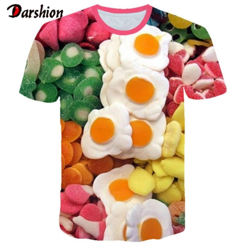 3d Convenient Poached Egg Food Tshirt Creativity Design Tops Tee Fashion Summer Short Sleeve 3D Printed Fashion Summer T Shirt
