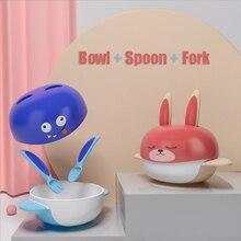 Bowl-Tableware-Set Spoons Sucker Cutlery Feeding-Bowl Eat Training Baby Kids Fall