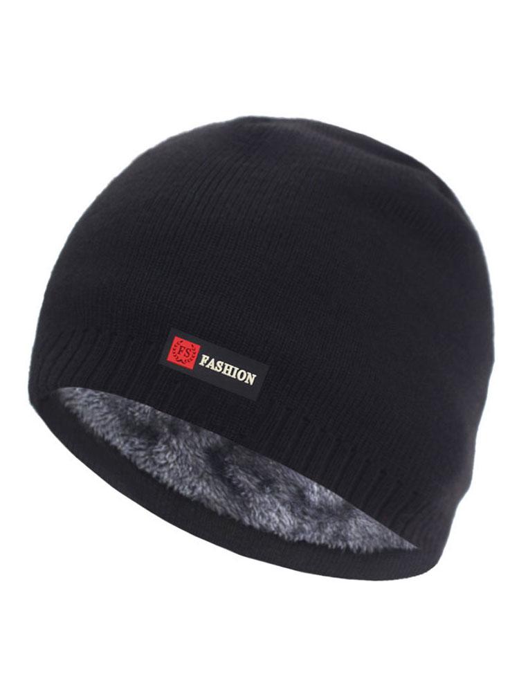 Knitted Hats Cap Beanie-Hat Bonnet Fur Gorro Warm Winter Thick Brimless Men's
