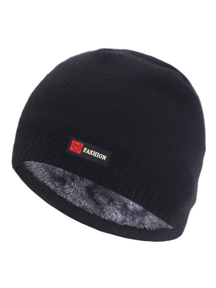 Knitted Hats Beanie-Hat Bonnet Men's Cap Gorro Warm Winter for Thick Brimless Fur