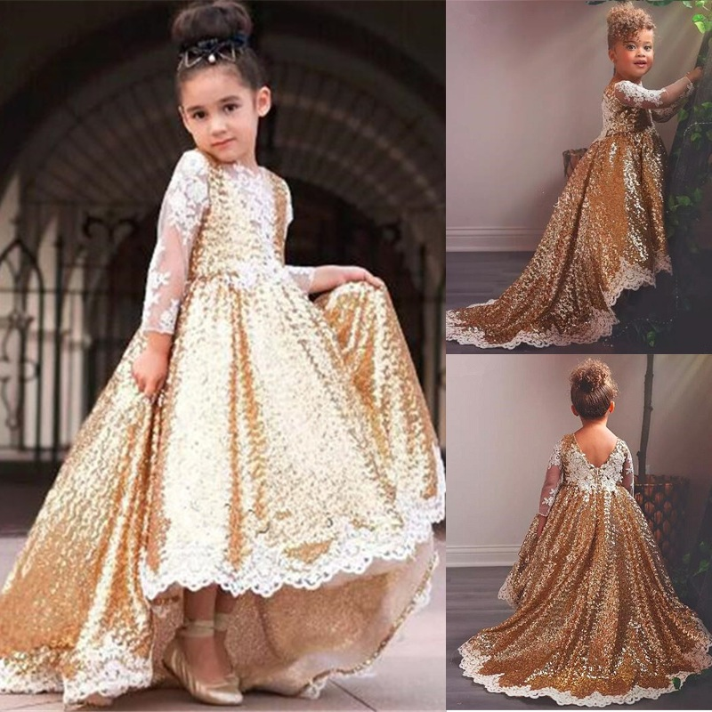 Gold Sequined Flower Girl Dresses For Wedding Lace Long Sleeves High Low Toddler Pageant Gowns Appliqued Ball Gown