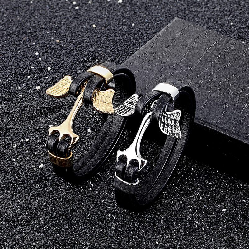MKENDN Wholesale Punk Multi-layer Stainless Steel Genuine Leather Anchor Skull Bracelet Men Casual Pulseira