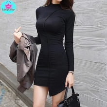 2019 Korean version of the fall and winter new irregular stitching package hip small high collar black dress