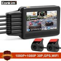 Conkim Dash Cam 2 Cameras K2S Full HD With GPS + WIFI Speed Cam Novatek Car DVR Super Capacitor K1S Upgrade Version