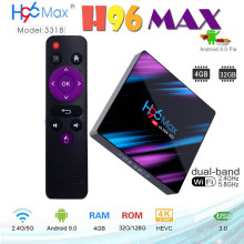 лучшая цена H96 max TV Box Android 9.0 RK3318 Quad-Core 4K H.265 4GB RAM 64GB ROM WiFi 2.4G&5G Smart Android TV Box support Netflix youtube