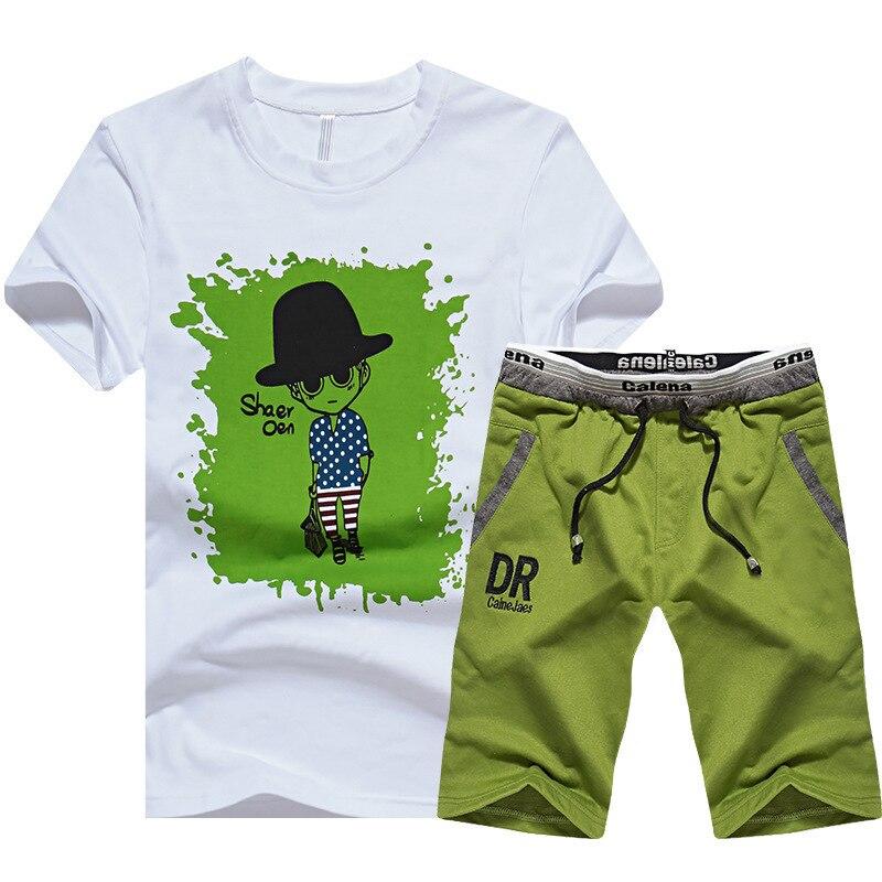 2019 New Style Summer Sports Short Sleeve Set AliExpress T-shirt Shorts MEN'S Wear Small Head Printed Cartoon